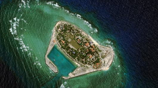 Southwest Cay (also known as Pugad Island), a small island controlled by Vietnam, is part of the Spratly Island chain in the hotly contested South China Sea.