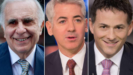 Activist investors: Carl Icahn (L), Bill Ackman (C) and David Einhorn (R).