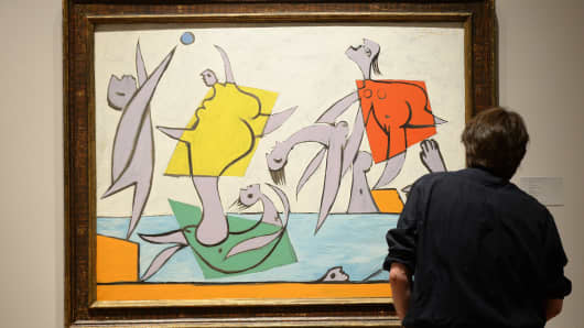 """Le Sauvetage"" by Pablo Picasso, on display during a preview of Sotheby's impressionist and modern art evening sale in New York, May 2, 2014."