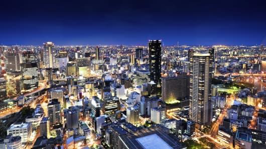 Osaka, Japan at night