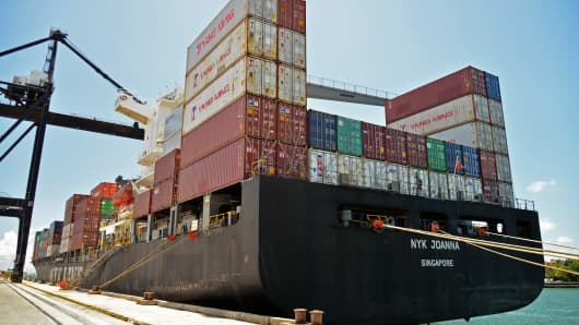 The NYK Joanna container ship sits docked at the Dante B. Fascell Port of Miami-Dade County in Miami.