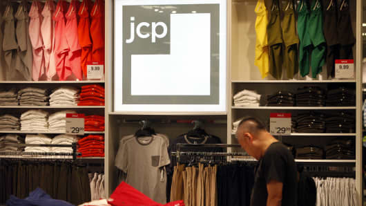 A man looks at apparel at the J.C. Penney Co. store inside the Glendale Galleria shopping center in Glendale, California.