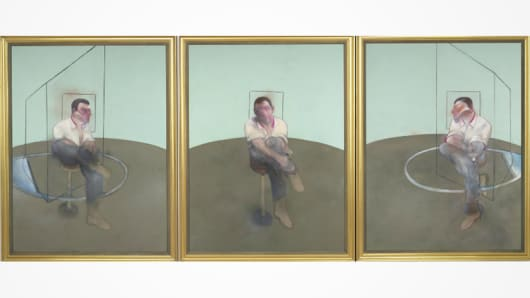 "Francis Bacon's ""Three Studies for a Portrait of John Edwards"" sold for $80.8 million at Christie's."