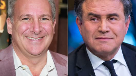 From left: Peter Schiff and Nouriel Roubini