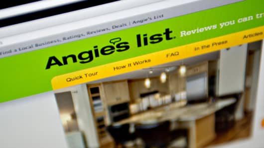 Angie's List website is displayed on a computer screen.