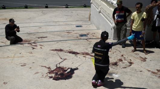 The site of a grenade and gun shots attack at Democracy monument in Bangkok on May 15, 2014.