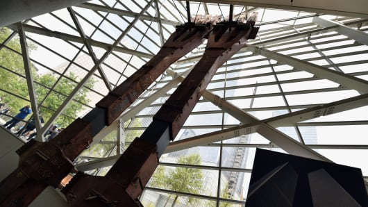 World Trade Center 'tridents', two steel columns that formed part of the building's structural support, seen during a press preview of the National September 11 Memorial Museum at the World Trade Center site May 14, 2014 in New York.