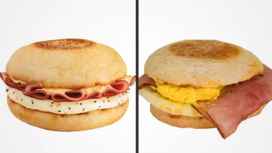 Dunkin' Donuts Eggs Benedict sandwich (Left: promotional image; Right: CNBC's order)