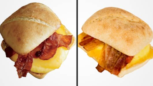 Starbuck's bacon gouda artisan sandwich (Left: promotional image; Right: CNBC's order)