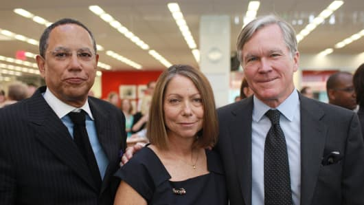 In this June 2, 2011 file photo released by The New York Times, Managing Editor Dean Baquet, Executive Editor Jill Abramson, center, and outgoing executive Bill Keller, pose for a photo at the newspaper's New York office.