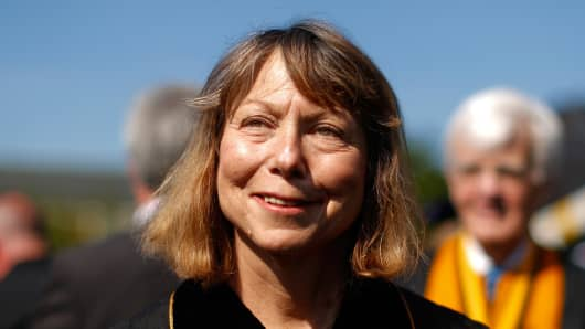 Ousted New York Times editor Jill Abramson walks in with faculty and staff during commencement ceremonies at Wake Forest University on May 19, 2014, in Winston Salem, N.C.