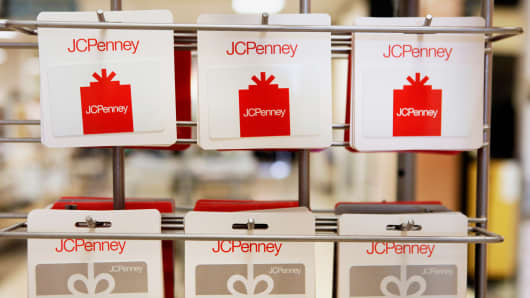 Gift cards are displayed for sale inside a J.C. Penney Co. store at the Collin Creek Mall in Plano, Texas.