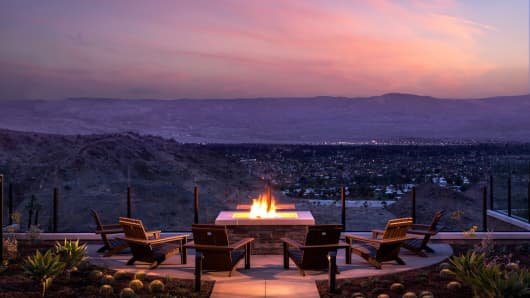A fire pit at the Ritz-Carlton Hotel in Rancho Mirage, Calif.