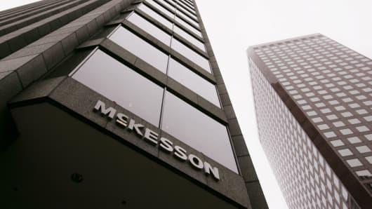 Prescription drug distributor McKesson Corp. headquarters is seen in San Francisco.