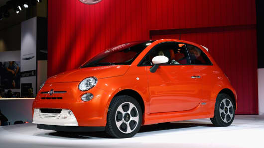 The Fiat 500e electric car