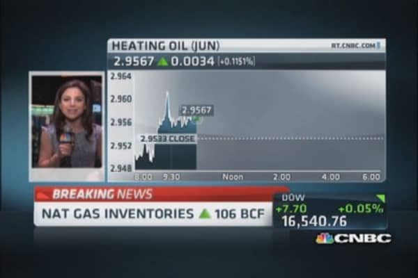 Nat gas inventories up 106 bcf
