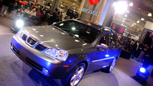 The Suzuki Forenza Chroma Wagon seen on display at the 2004 New York International Auto Show in New York City.