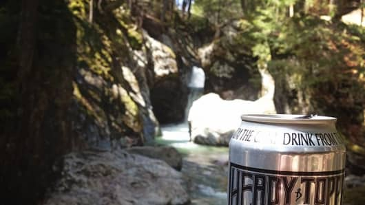 A can of Heady Topper, a double IPA from The Alchemist brewery, at Texas Falls, Vt., in May 2014