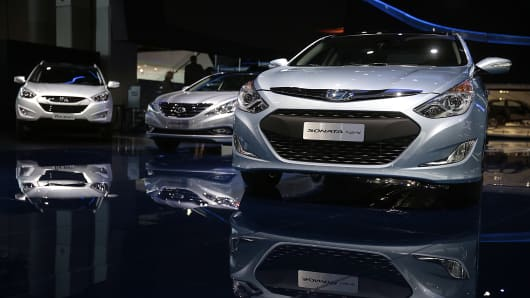 The Hyundai Motor Co. Sonata hybrid vehicle is displayed during the 2014 North American International Auto Show (NAIAS) in Detroit, Michigan.
