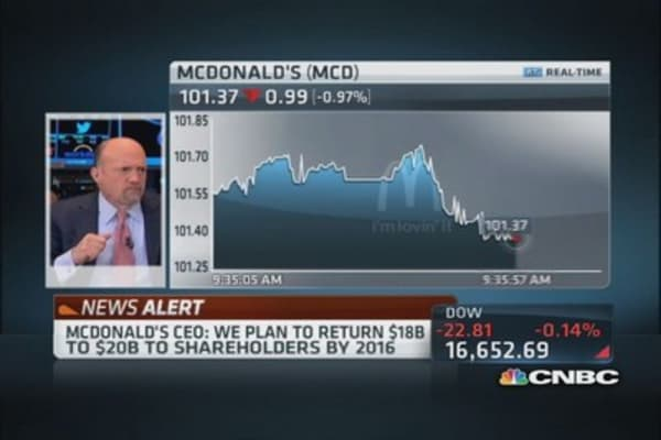 McDonald's plans to return $18-$20 billion to shareholders by 2016