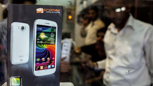 A packaged Micromax Informatics Ltd. smartphone is displayed at a wholesale smartphone outlet at Gaffar Market in New Delhi, India