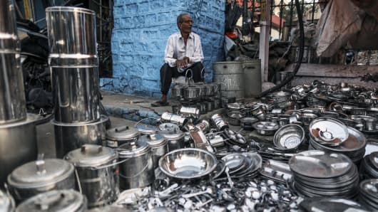 Steel kitchen utensils being sold at the Begum Bazaar in Hyderabad, India.