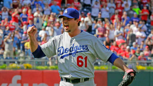 Pitcher Josh Beckett of the Los Angeles Dodgers celebrates after recording a no hitter during a game against the Philadelphia Phillies at Citizens Bank Park on May 25, 2014 in Philadelphia.
