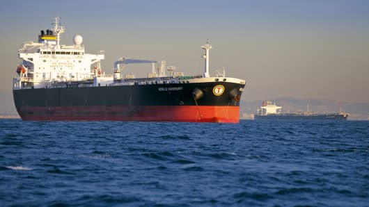 Oil tankers are anchored near the Port of Long Beach, California.