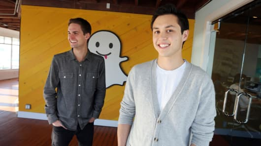 Evan Spiegel (left) and Bobby Murphy, co-founders of Snapchat