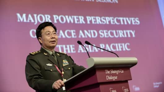 Deputy Chief of the General Staff of the People's Liberation Army (PLA) Wang Guanzhong speaks at the IISS Shangri-La Dialogue (SLD) in Singapore on June 1, 2014.