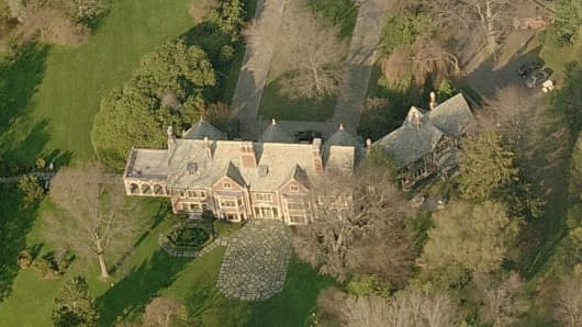 Aerial view of former Lehman Brothers executive Bradley Jack's home in Fairfield County, Connecticut.