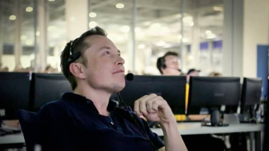 Elon Musk at mission control SpaceX.