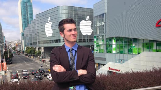 Developer Brandon Boynton, 16, of Indiana attends Apple's developer conference.
