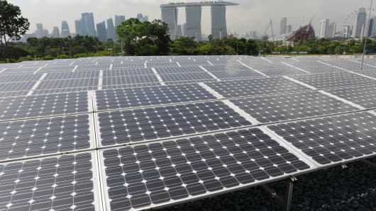 Solar panels near the Marina Barrage in Singapore