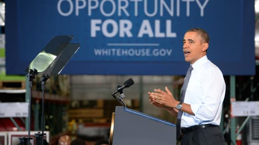 President Barack Obama speaks at a Costco in Maryland on Jan. 29, 2014, to highlight the importance of raising the federal minimum wage.