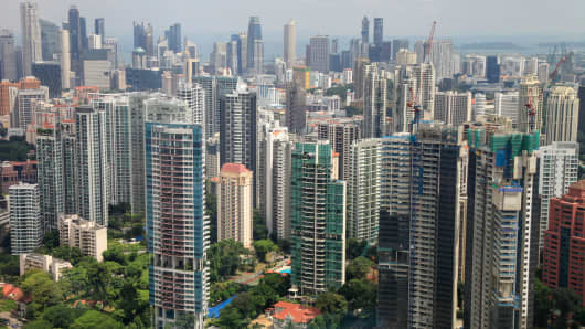 Residential buildings stand in the Grange Road area of Singapore