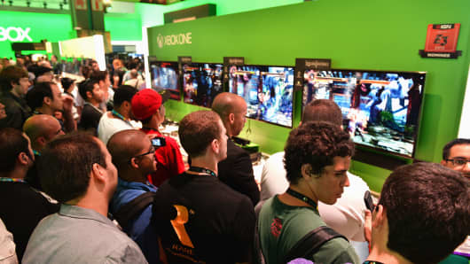 The Microsoft X-Box display at the E3 Gaming and Technology Conference at the Los Angeles Convention Center, June, 2013.