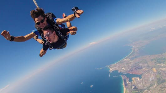 The chief funster occasionally has to jump out of a plane. Here, skydiving in Wollongong.