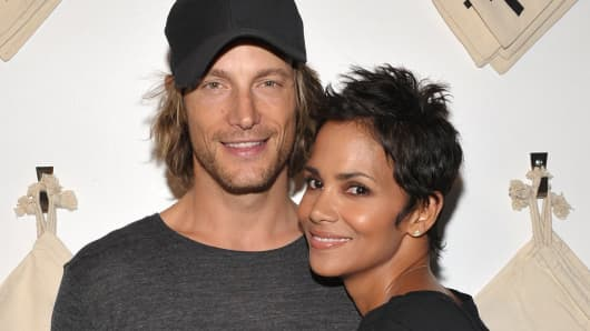 Actress Halle Berry, right, and Gabriel Aubry on August 6, 2009 in West Hollywood, Calif.