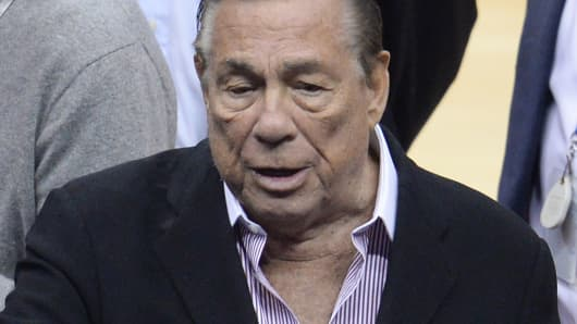Los Angeles Clippers owner Donald Sterling attends the NBA playoff game between the Clippers and the Golden State Warriors, April 21, 2014 at Staples Center in Los Angeles.