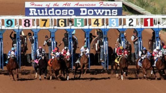 Starting gate at the All-American Futurity 2010, where Jose Trevino Morales' horse, Mr. Piloto, won.
