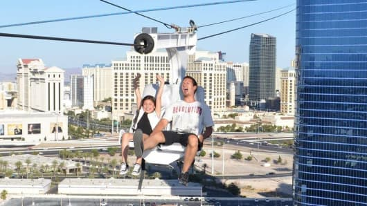The newly opened VooDoo zip line at the Rio Las Vegas gives riders a trhill 490 feet off the ground.