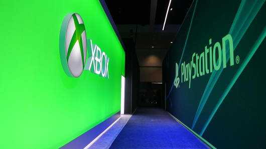 Xbox and PlayStation signage on display at the 2014 E3 Electronic Entertainment Expo.