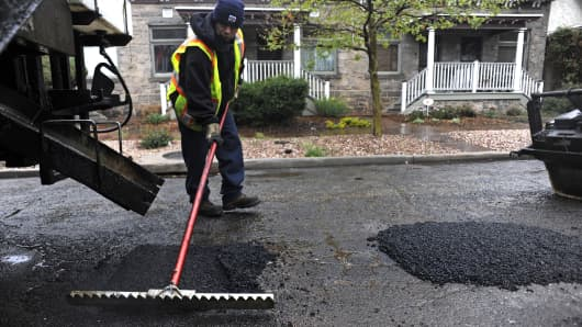 Workers with the Denver Public Works department have spent all day making emergency pothole repairs on roads and streets around the metro area.