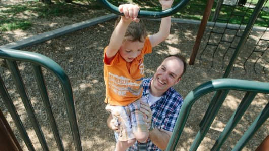 The Fontenot family visit a park near their home in Round Rock, Texas. Corey Fontenot, 35, switched from a more lucrative sales job to a more family friendly operations job after his first child was born.