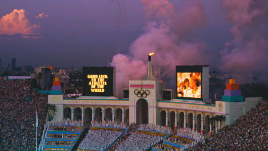 The Los Angeles Memorial Coliseum during the closing ceremony of the 1984 Summer Olympics, Los Angeles, 12th August 1984