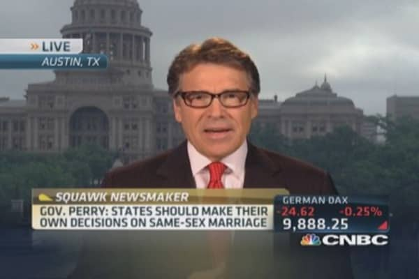 Gov. Perry on same-sex marriage