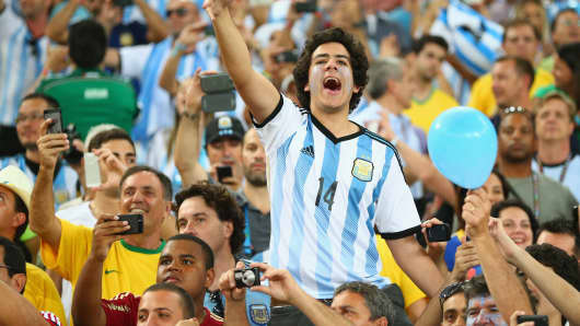 An Argentina fan cheers during the 2014 FIFA World Cup Brazil Group F match between Argentina and Bosnia-Herzegovina at Maracana on June 15, 2014 in Rio de Janeiro, Brazil.