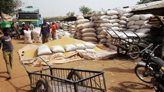 Sacks of grain on display at Dawanau grain market, the largest grain market in west Africa, on the outskirts of the northern Nigerian city of Kano