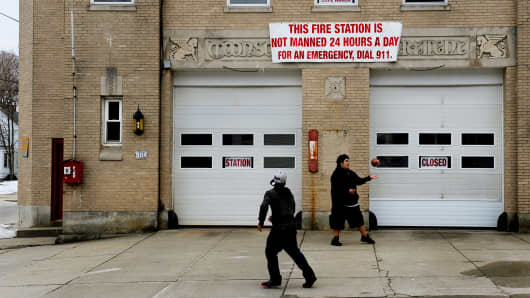 """The Station Six fire station in Woonsocket (built in 1928) closed in 2009 as budget difficulties for the city created the need for austerity. The city is a designated """"distressed"""" municipality."""